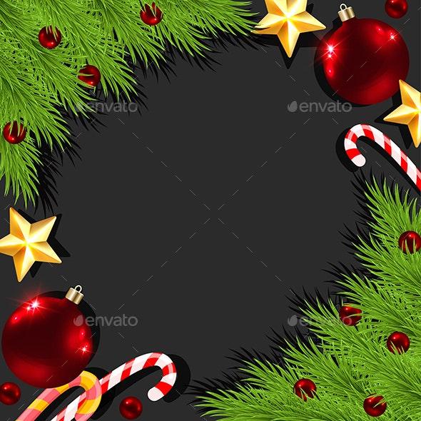 Christmas Decorations on a Black Background - Christmas Seasons/Holidays