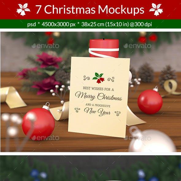 7 Christmas Card Mockups
