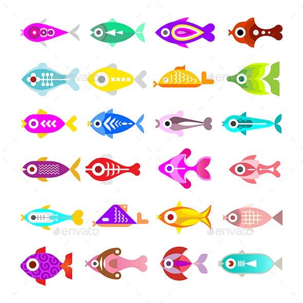 Aquarium Fish Vector Icons