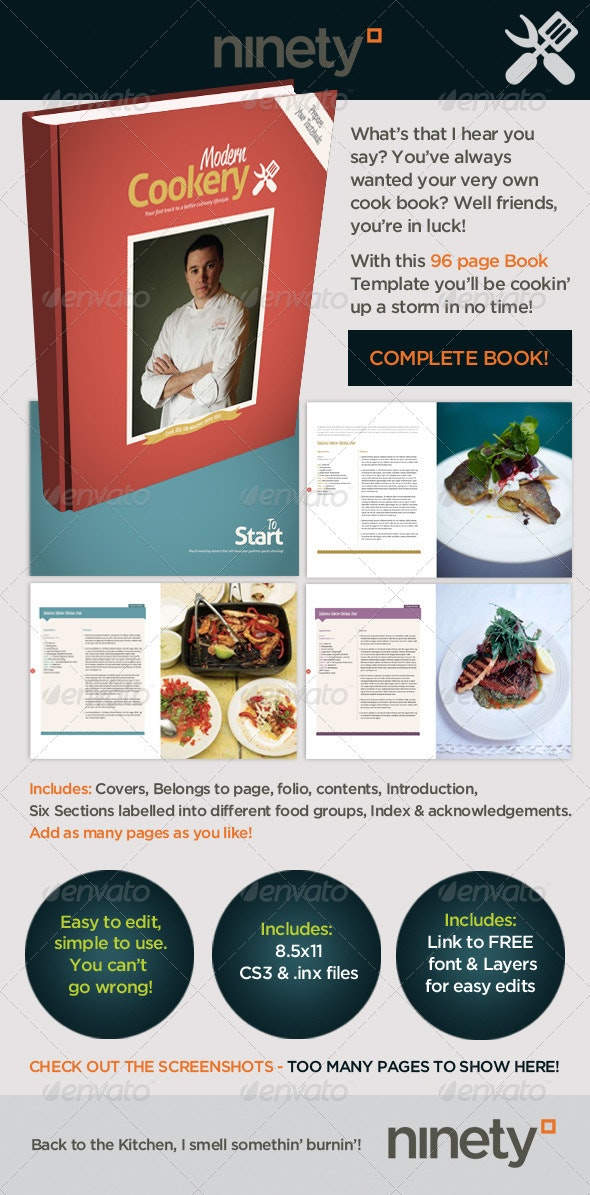 Modern Cookery Book Template - Magazines Print Templates