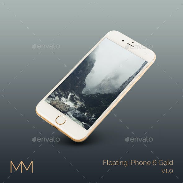 Floating iPhone 6 Gold MockUp
