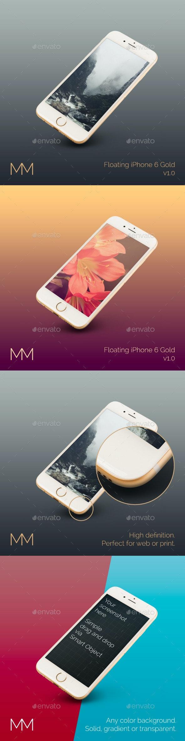 Floating iPhone 6 Gold MockUp - Product Mock-Ups Graphics