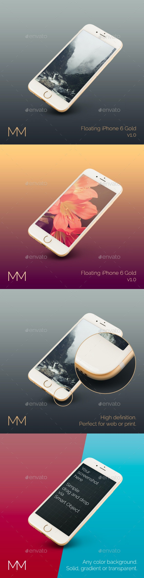 Floating iPhone 6 Gold MockUp - Product Mock-Ups Graphics