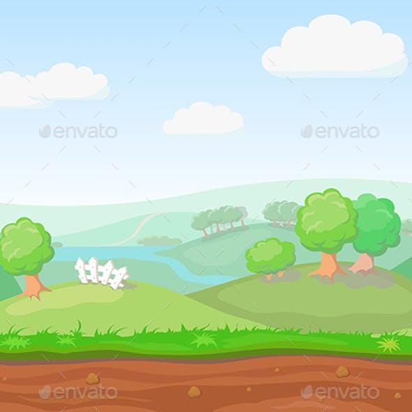 Cartoon Cute  Country Seamless Horizontal