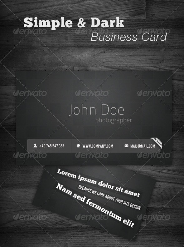 Simple & Dark Business Card - Corporate Business Cards
