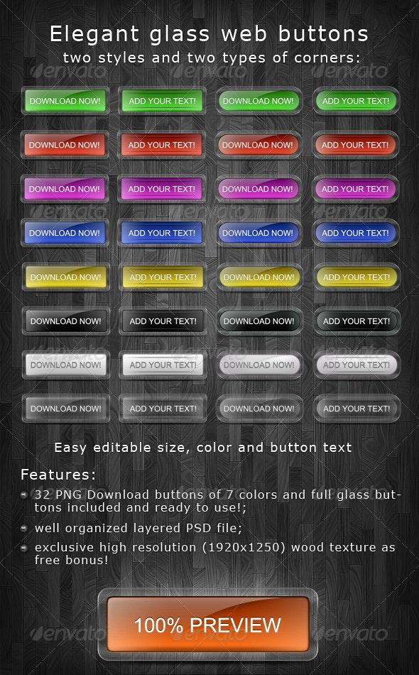 Elegant glass buttons - Buttons Web Elements