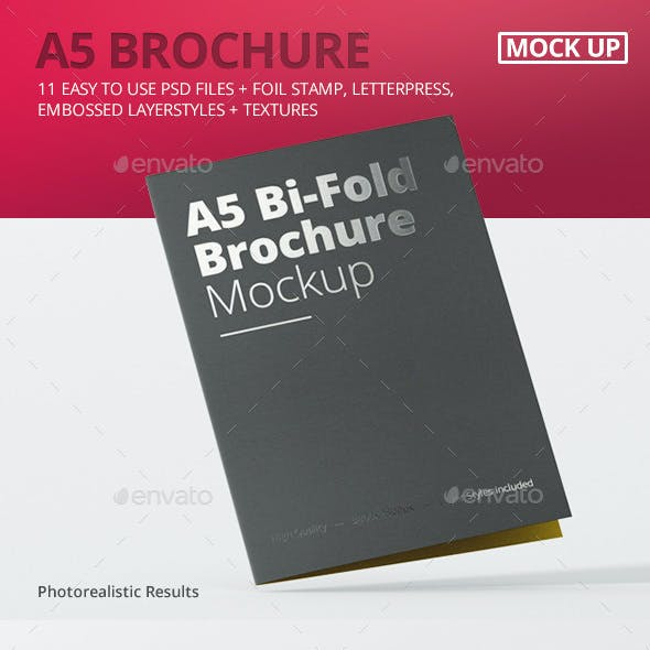 A5 Bi-Fold Brochure Mock-Up