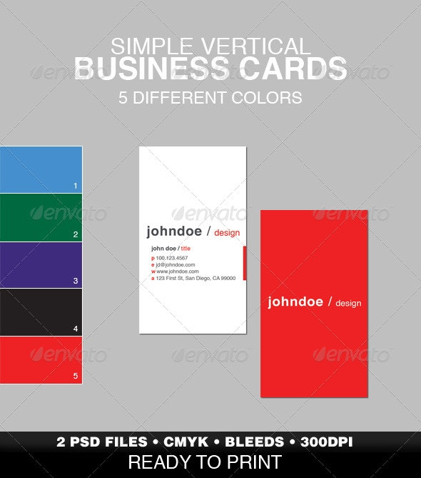 Simple Vertical Business Card - Corporate Business Cards