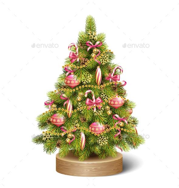 Decoration Christmas Tree Pine on Wooden Stand - Christmas Seasons/Holidays