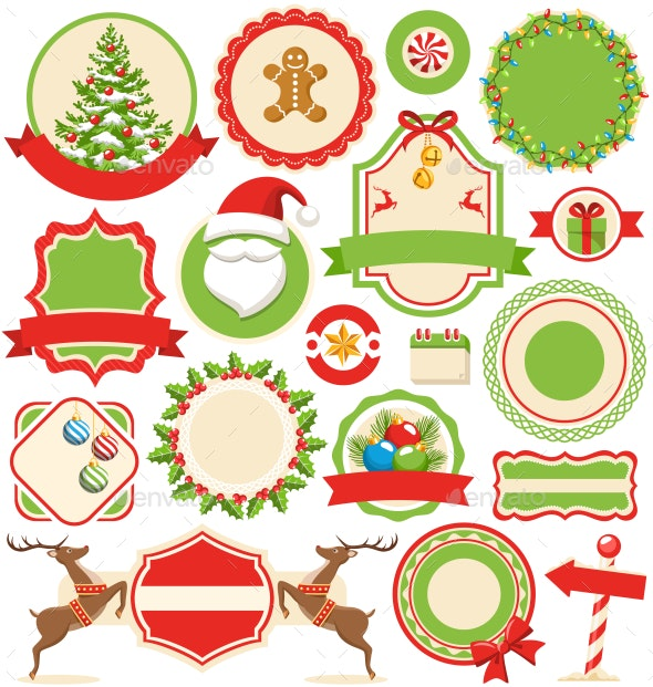 Set of Flat Christmas Winter Labels Icons - Seasons/Holidays Conceptual