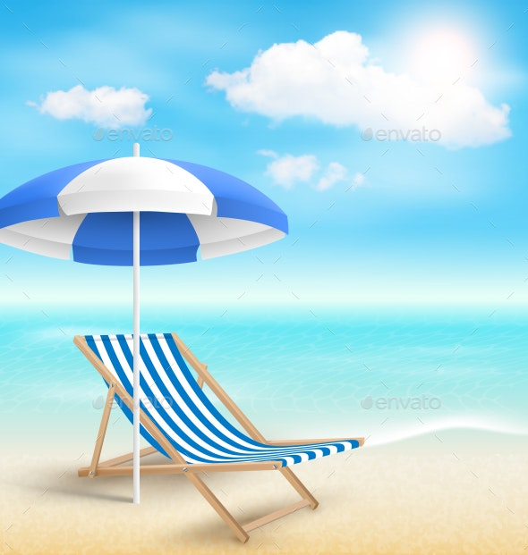 Beach with Sun Umbrella Chair and Clouds - Landscapes Nature