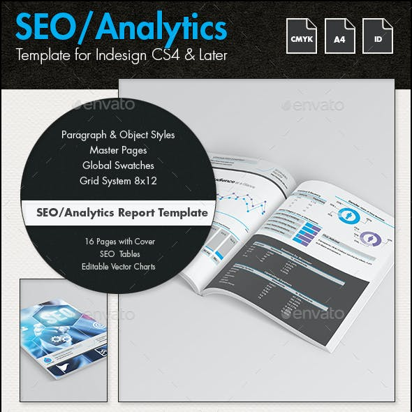 SEO Analytics Report Template - A4 Portrait