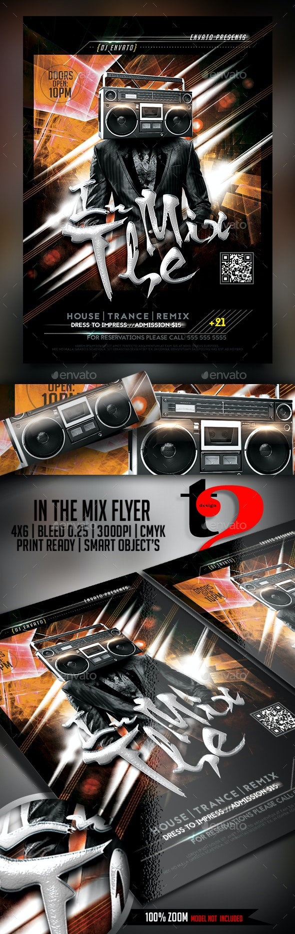 In The Mix Flyer Template - Clubs & Parties Events