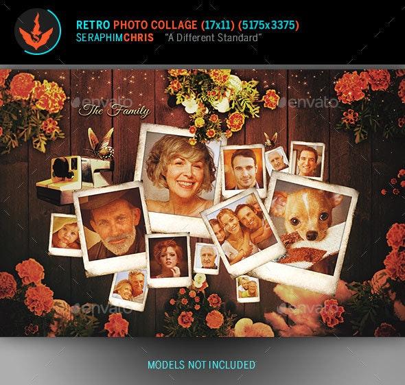 Retro Photo Collage Template - Photo Templates Graphics