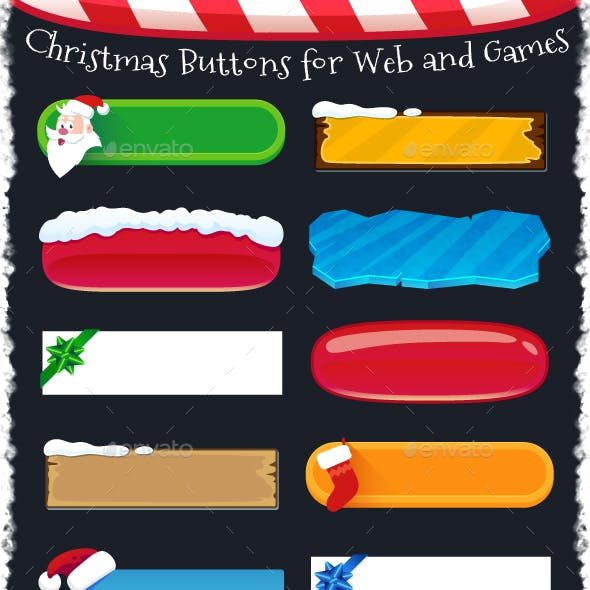 Christmas Buttons for Web and Games