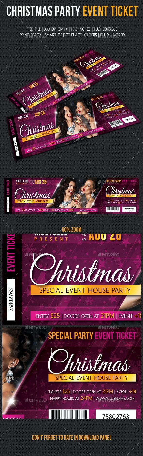Christmas Party Event Ticket - Cards & Invites Print Templates