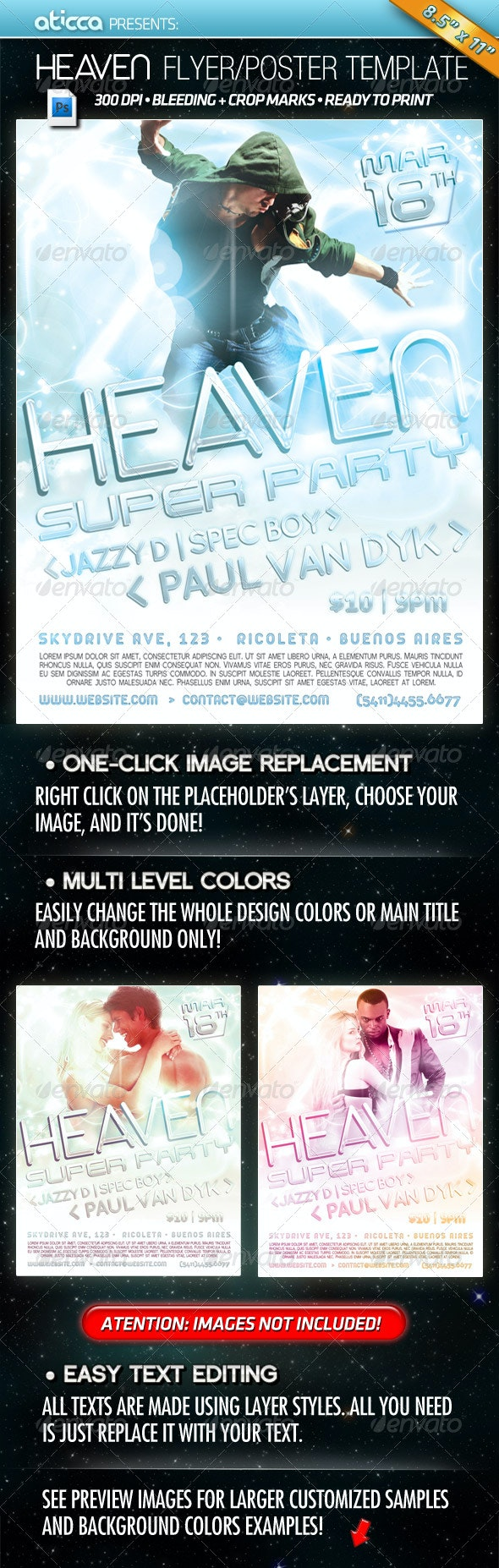 Heaven - Poster and Flyer Template - Clubs & Parties Events