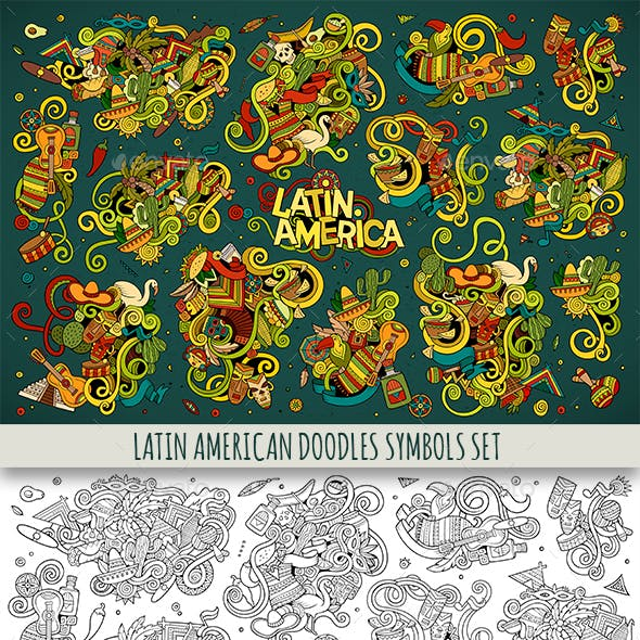 Latin American Doodles Designs Set