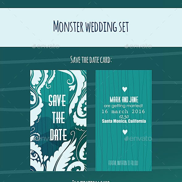 Monsters Wedding Cards Pack