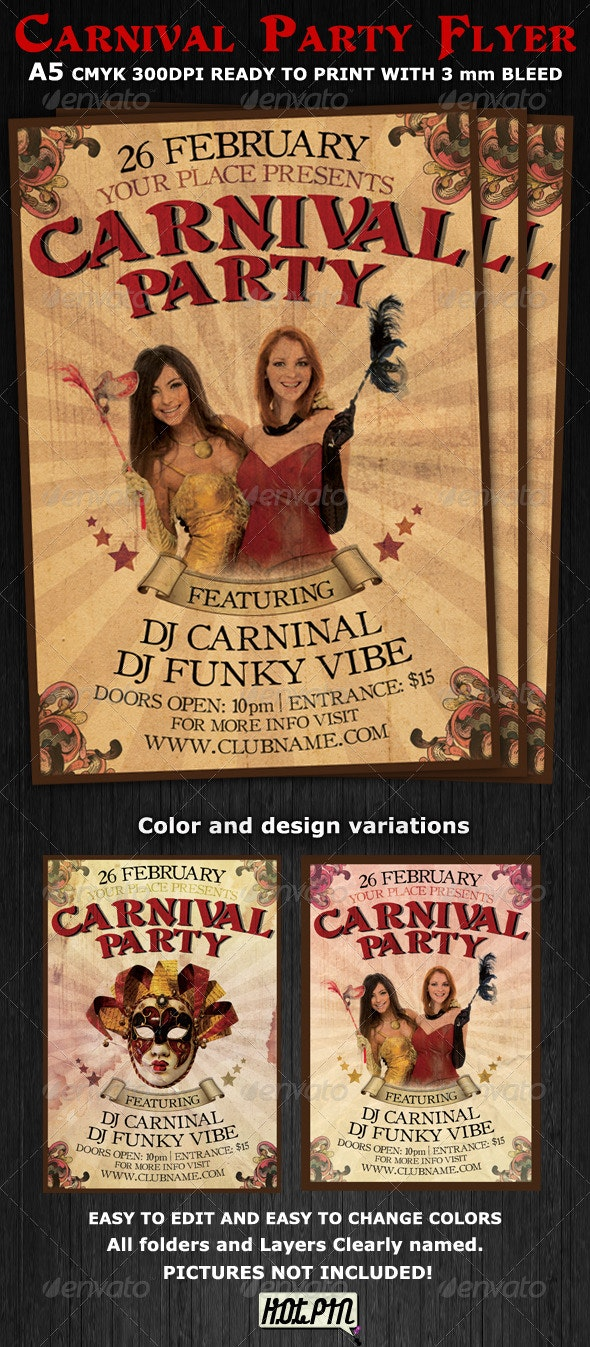 Carnival Club Party Flyer Template V2 - Clubs & Parties Events
