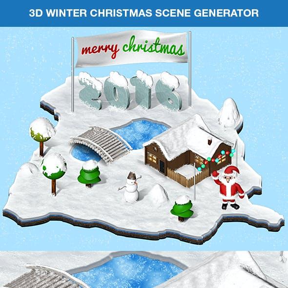 3D Winter Christmas Scene Generator