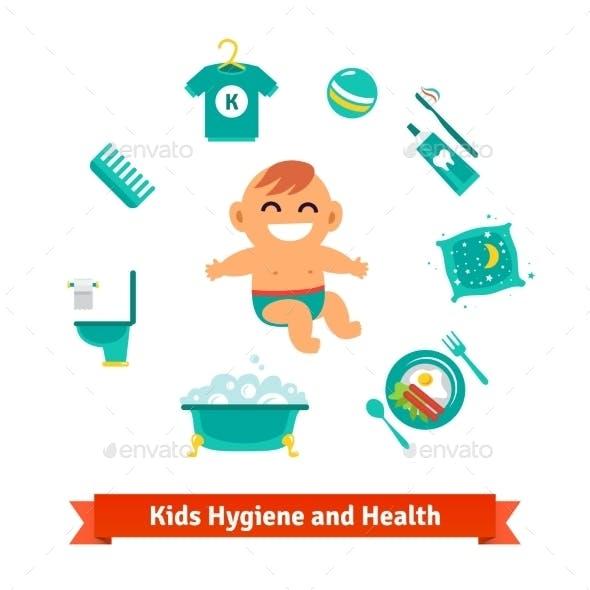 Kids Health And Hygiene Icons