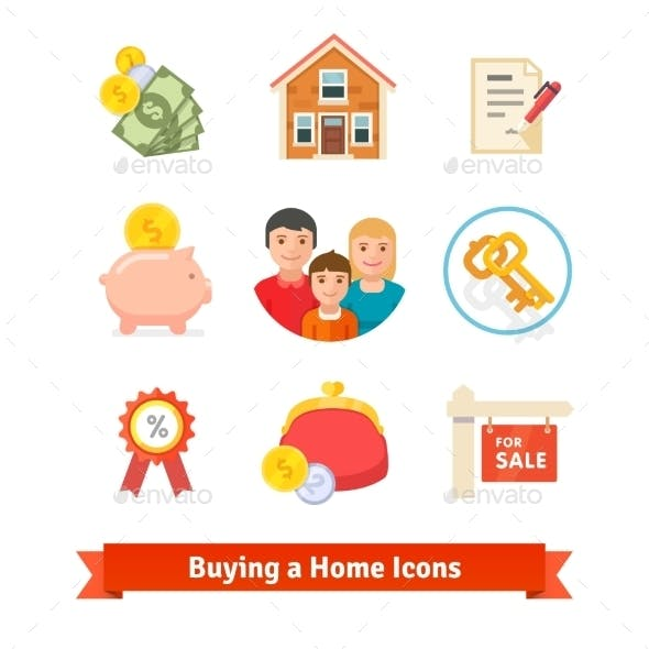 Real Estate House Mortgage Loan Buying Icons
