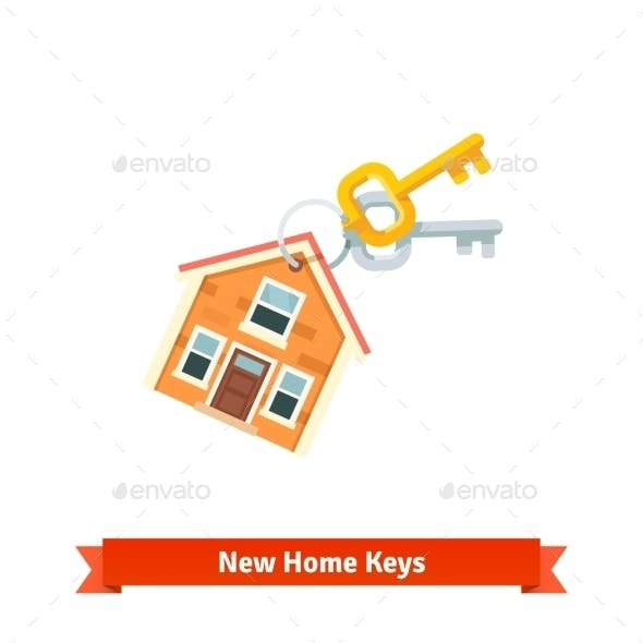 House Keychain Symbolizing Purchase of a New Home