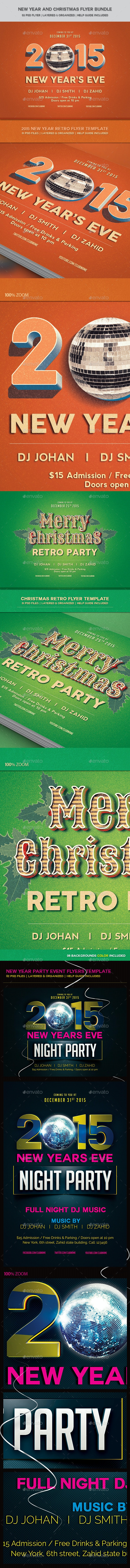 New Year and Christmas Flyer Bundle - Events Flyers