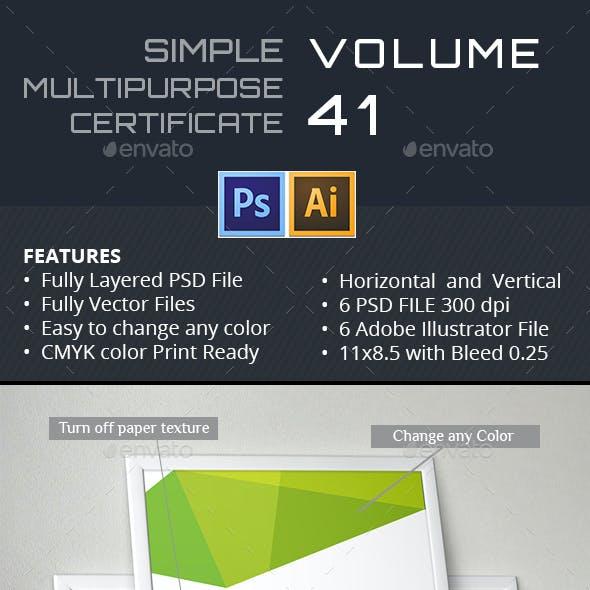 Simple Multipurpose Certificate GD041