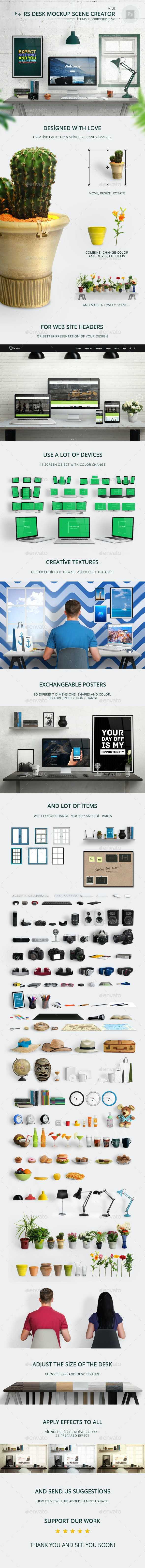 RS Desk Mockup Scene Creator - Hero Images Graphics