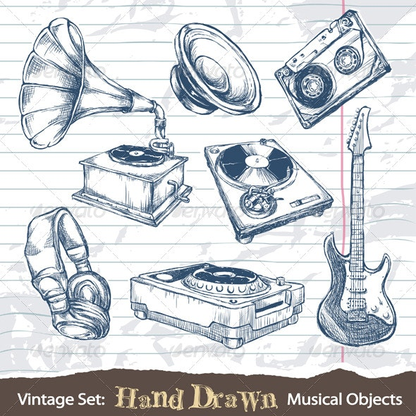 Set of hand drawn musical objects - Objects Vectors