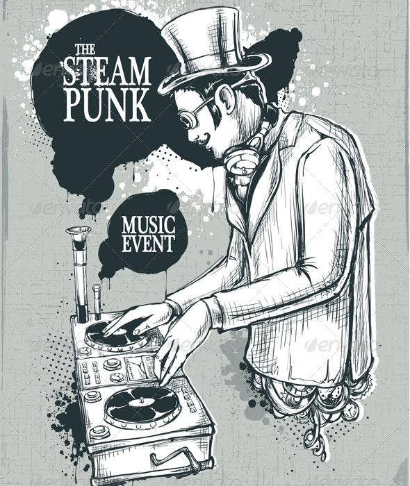 Steampunk musical poster - People Characters