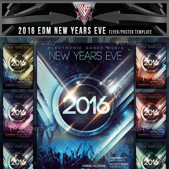 2016 EDM New Years Eve Flyer Template