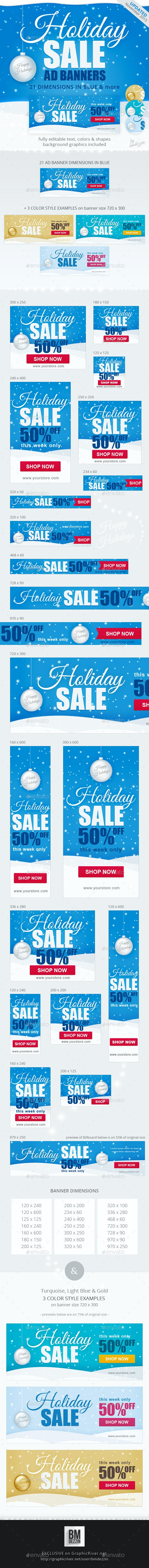 Holiday Sale Web Ad Banners - Banners & Ads Web Elements