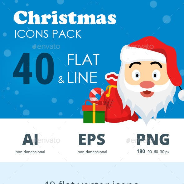 Christmas flat & line icon set