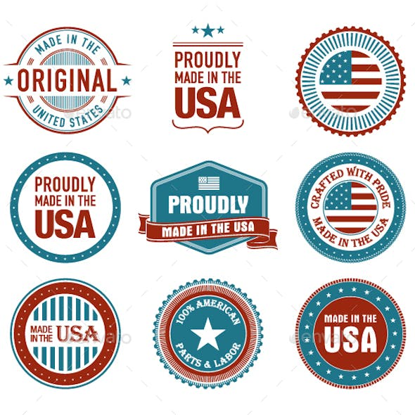 9 Made in USA Badges, Stamps, Seals