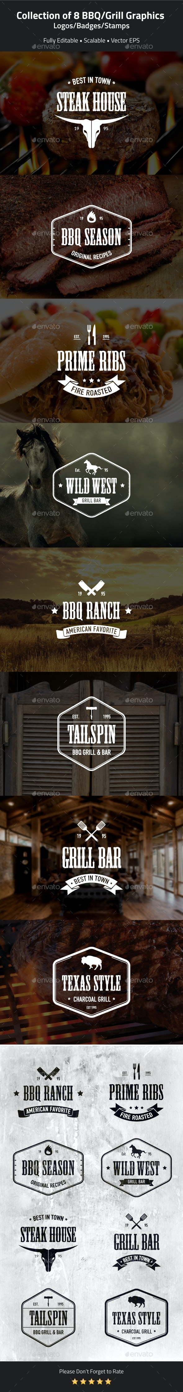BBQ and Grill Badges, Stamps - Badges & Stickers Web Elements