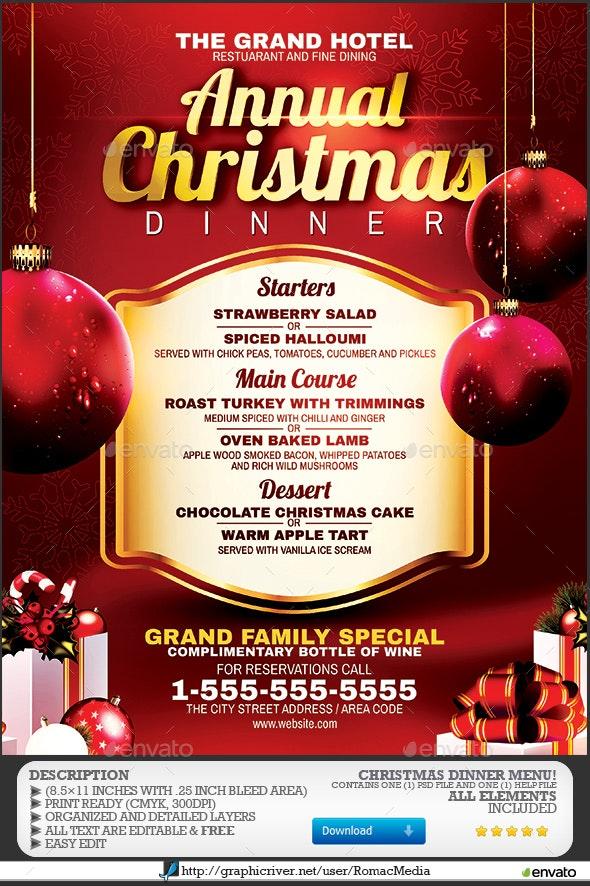 Christmas Dinner Menu - Events Flyers