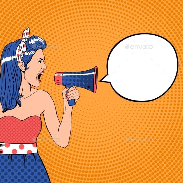 Pop Art Girl With Speech Bubble And Megaphone
