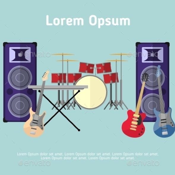 Rock Band Musical Instruments In Flat Style