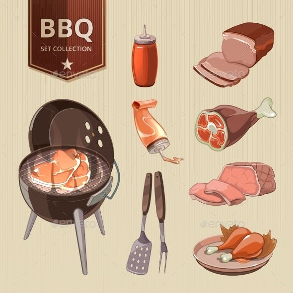 BBQ Meat Vector Elements For Vintage Barbecue