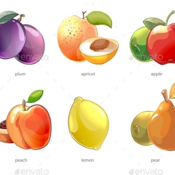 Cartoon Fruits Vector Icons Set