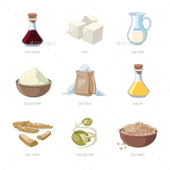 Cartoon Soy Food Vector Set