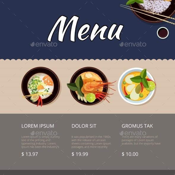 Thai Food Menu Vector Template Design