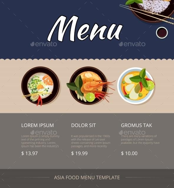 Thai Food Menu Vector Template Design - Food Objects
