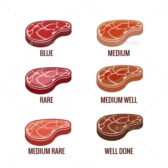 Degree of Steak Readiness Icons Set