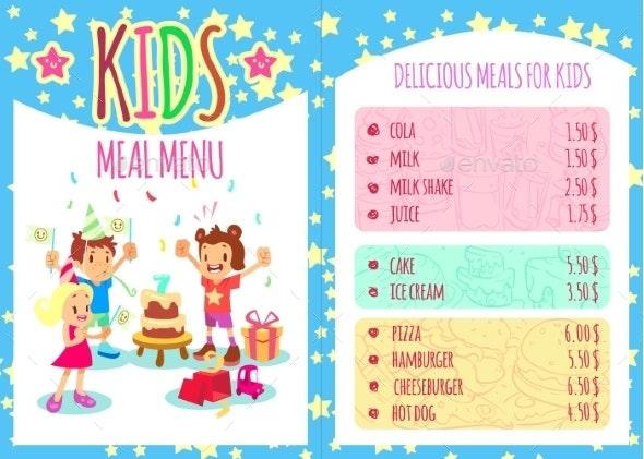 Kids Meal Menu - Miscellaneous Vectors