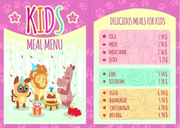 Kids Meal Menu with Animal Characters - Miscellaneous Vectors