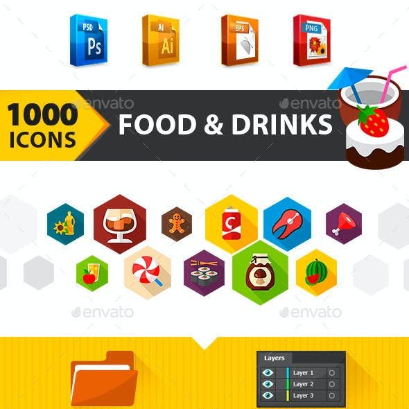1000 Food & Drinks Flat Vector Icons Set